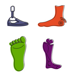 foot icon set color outline style vector image