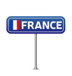 france road sign national flag with country name vector image