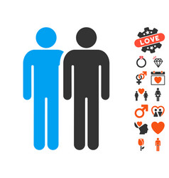 gay couple icon with valentine bonus vector image