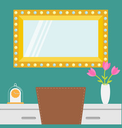 golden retro makeup mirror with electric light vector image