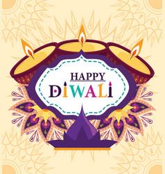 happy diwali traditional indian festival diya vector image