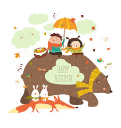 Happy kids with bear and fox vector