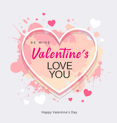 happy valentines day heart shape love you message vector image