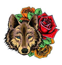 head wild wolf graphics vector image