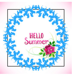 hello summer lettering with flowers and blue vector image