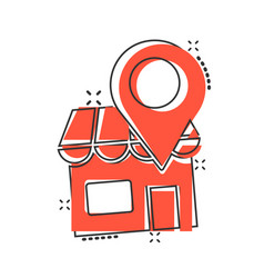 Home pin icon in comic style house navigation vector