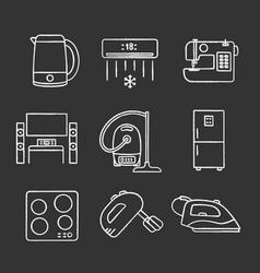 Household appliance chalk icons set vector