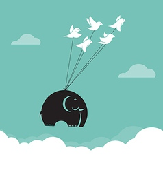 Image of bird and elephant in the sky vector