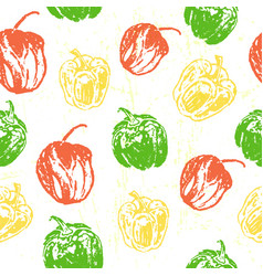 ink hand drawn seamless pattern with paprika vector image