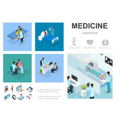 isometric medical care infographic template vector image