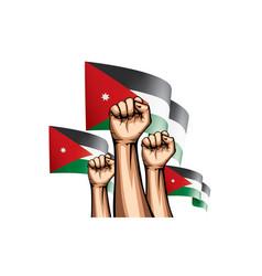 Jordan flag and hand on white background vector
