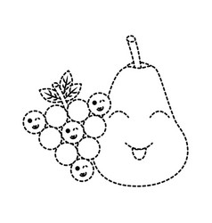 kawaii pear and grapes fruits cartoon vector image