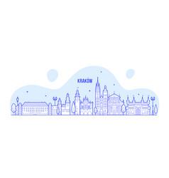 krakow skyline poland city buildings linear vector image