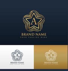 letter a logo concept design with star shape vector image