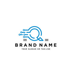 Letter q fast tech logo design vector