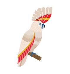 major mitchell pink cockatoo parrot in flat design vector image