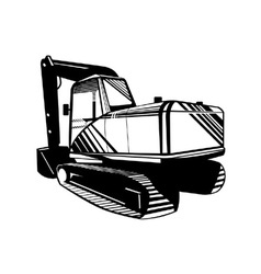 Mechanical Digger Excavator Retro vector image