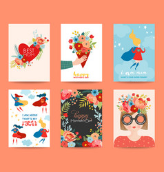 Mothers day greeting card set happy mother day vector