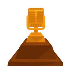 music award vintage golden microphone trophy vector image
