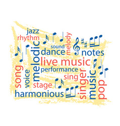 music colorful word collage vector image