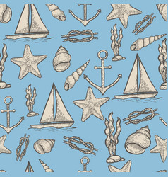 Naval hand drawing seamless pattern vector