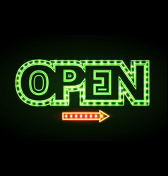 neon sign open vintage electric signboard vector image