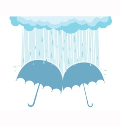 Of raining clouds and two umbrellas vector