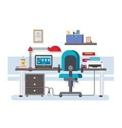 Office workplace flat design vector image