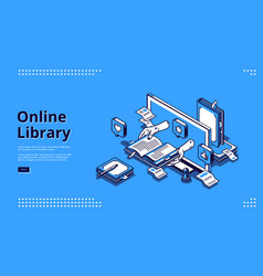 online library isometric landing internet service vector image