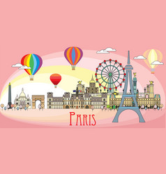 paris colorful line art 10 vector image