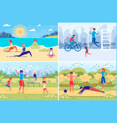people summer outdoor activity and recreation vector image