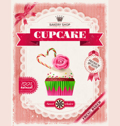 poster confectionery bakery with cupcakes vector image