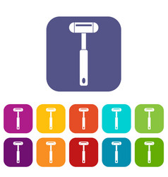 Reflex hammer icons set flat vector