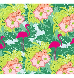 Seamless flamingo bird pattern vector