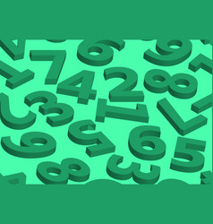 seamless pattern numbers in 3d green vector image