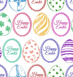 Seamless pattern of sketch Easter eggs vector image