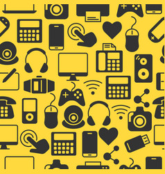 seamless pattern with computers and accessories vector image