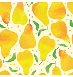 Seamless pattern with watercolor pears vector image