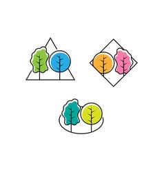 Set leaf forest logo design nature logo vector