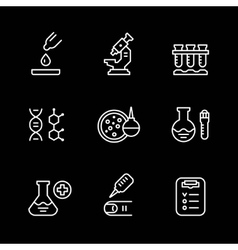 Set line icons of medical analysis vector