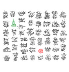 Set of 50 black ink christmas and happy new year vector