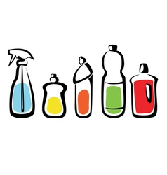 set of bottles with washing agents vector image