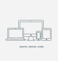 Set of devices icons monitor laptop tablet pc vector