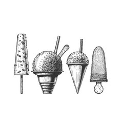 set of frozen dessert vector image