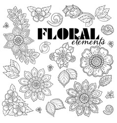 Set of henna floral elements based on vector