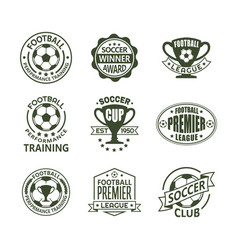set of isolated soccer or european football signs vector image