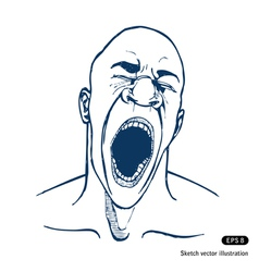 Shouting or yawning or tired man vector