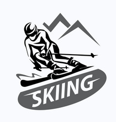 skiing stylized symbol logo or emblem template vector image