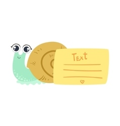 Snail With The Template For The Message vector image