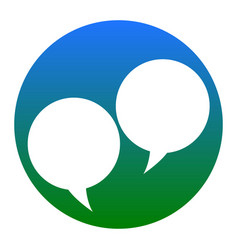 speech bubble sign white icon in bluish vector image